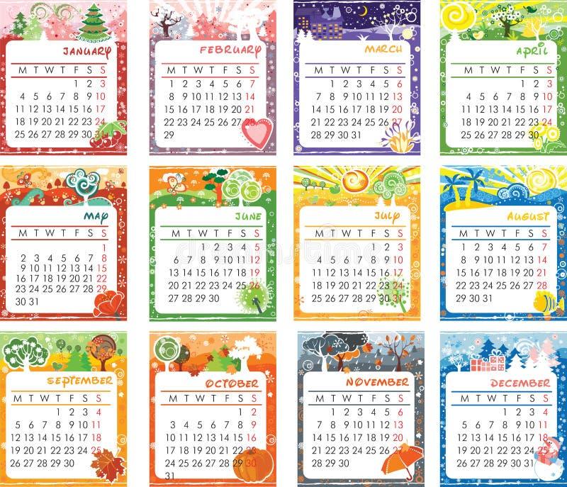 Diseño del calendario 2016 stock de ilustración