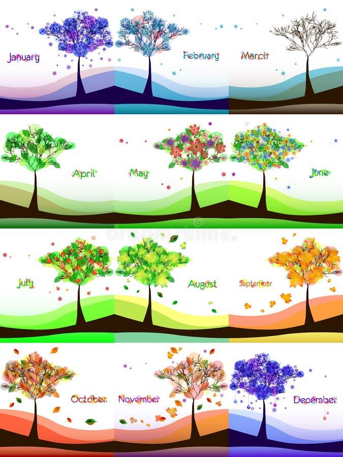 Diseño del calendario con el árbol abstracto en prado stock de ilustración