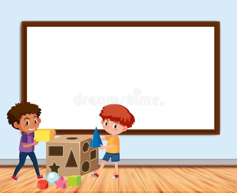 Diseño del capítulo con jugar del tablero y de dos muchachos ilustración del vector