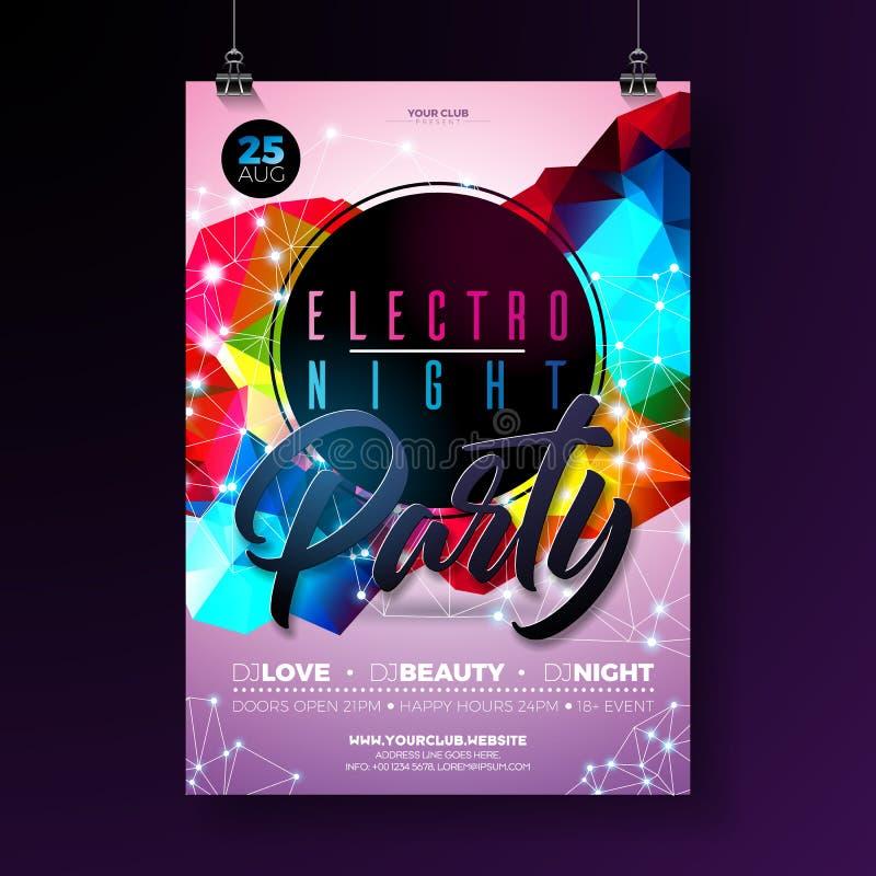 Diseño del cartel del baile de la noche con formas geométricas modernas abstractas en fondo brillante Electro club del disco del  ilustración del vector