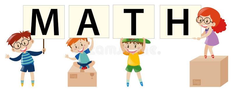 Diseño del cartel con los niños y la matemáticas stock de ilustración