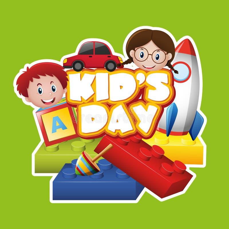 Diseño del cartel con los niños y los juguetes stock de ilustración