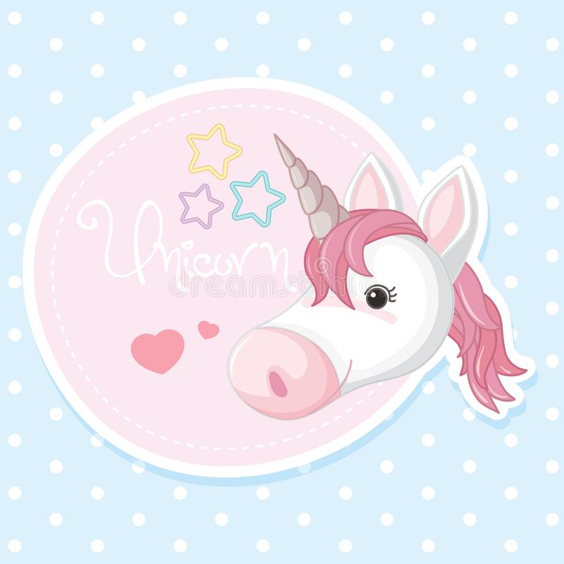 Diseño del cartel con unicornio rosado libre illustration