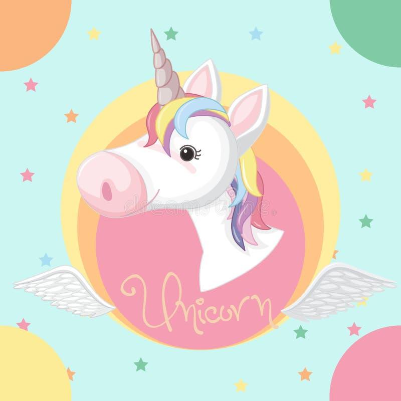 Diseño del cartel con unicornio y las estrellas ilustración del vector