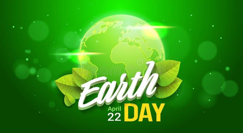 Diseño del cartel del Día de la Tierra en concepto feliz verde de la protección del planeta de la tarjeta de felicitación del día stock de ilustración