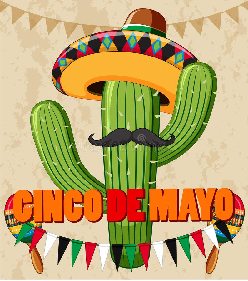Diseño del cartel de Cinco de Mayo con el cactus con el sombrero libre illustration