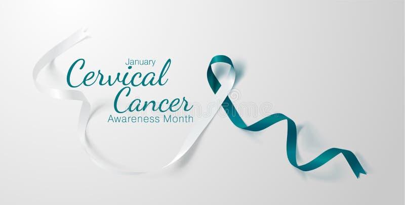 Diseño del cartel de la caligrafía de la conciencia del cáncer de cuello del útero Trullo realista y cinta blanca Enero es mes de libre illustration