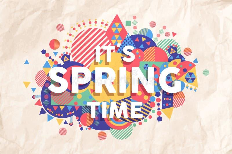 Diseño del cartel de la cita del tiempo de primavera ilustración del vector