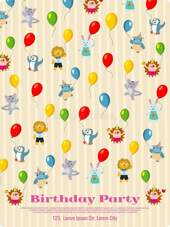 Diseño del cartel de la fiesta de cumpleaños - los animales de la historieta vuelan con los globos stock de ilustración