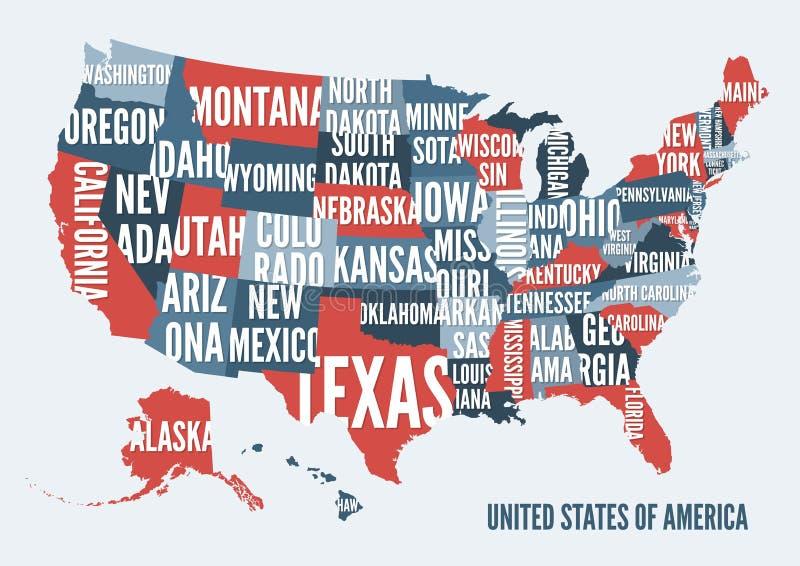 Diseño del cartel de la impresión del mapa de los Estados Unidos de América stock de ilustración