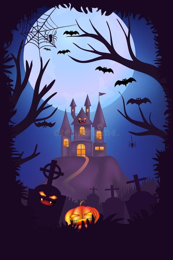 Diseño del cartel de la noche del feliz Halloween, cementerio espeluznante, calabazas, con el fondo del castillo y de la Luna Lle ilustración del vector