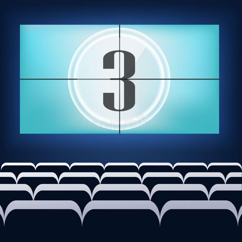 Diseño del cartel de la premier del cine de la película con la pantalla blanca V ilustración del vector