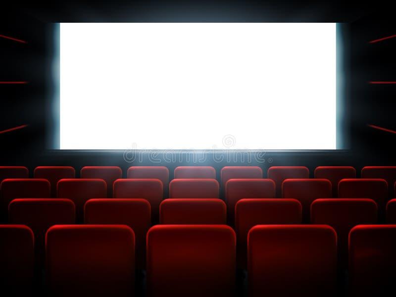 Diseño del cartel de la premier del cine de la película con la pantalla blanca Fondo del vector libre illustration