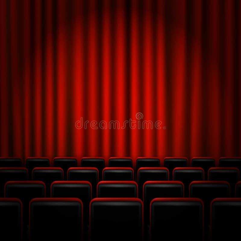 Diseño del cartel de la premier del cine de la película con las cortinas rojas Bandera del vector stock de ilustración