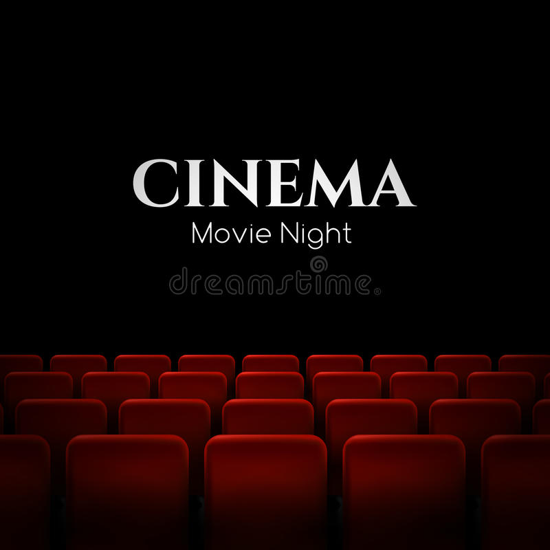 Diseño del cartel de la premier del cine de la película con los asientos rojos Fondo del vector stock de ilustración