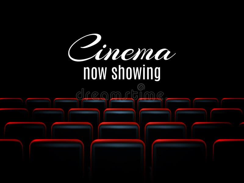 Diseño del cartel de la premier del cine de la película con los asientos rojos Fondo del vector libre illustration