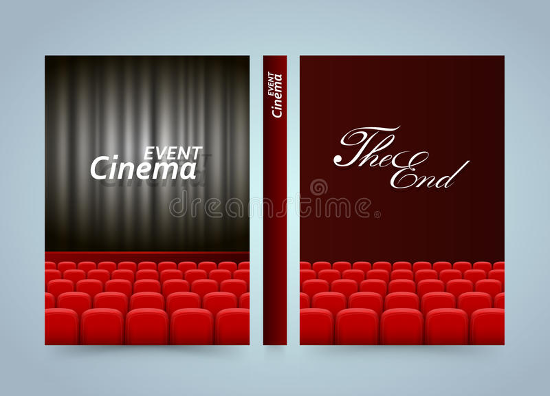 Diseño del cartel de la premier del cine de la película Libro de la película de la bandera Papel del tamaño A4, elemento del dise ilustración del vector