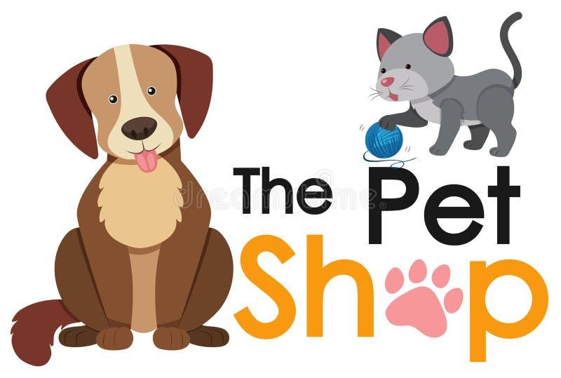 Diseño del cartel de la tienda de animales con el gato y el perro ilustración del vector