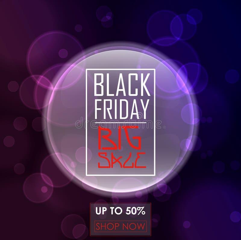 Diseño del cartel de la venta de Black Friday con el fondo y las burbujas redondos púrpuras libre illustration