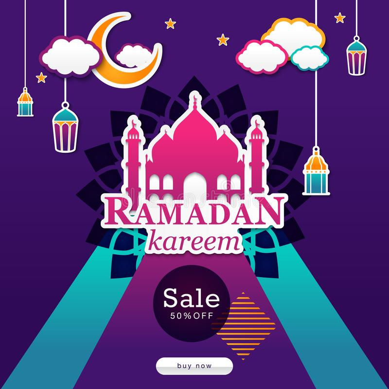 Diseño del cartel de la venta de la estación del Ramadán en estilo islámico imagen de archivo libre de regalías
