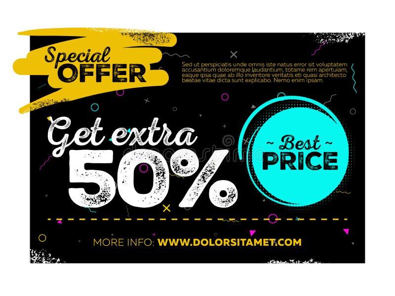 Diseño del cartel de la venta Etiqueta de la oferta especial y la mejor etiqueta de precio en fondo negro con textura y Memphis P stock de ilustración