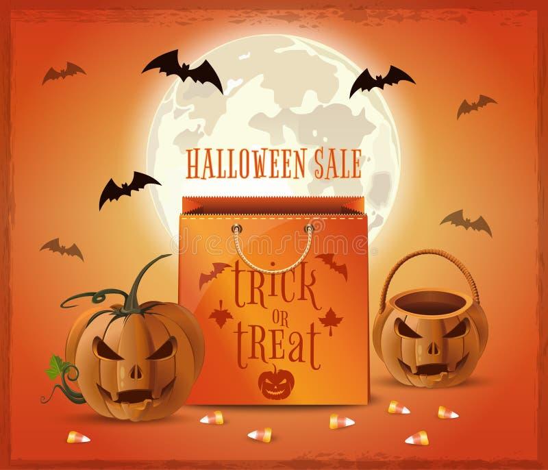 Diseño del cartel de la venta de Halloween Truco o convite ilustración del vector