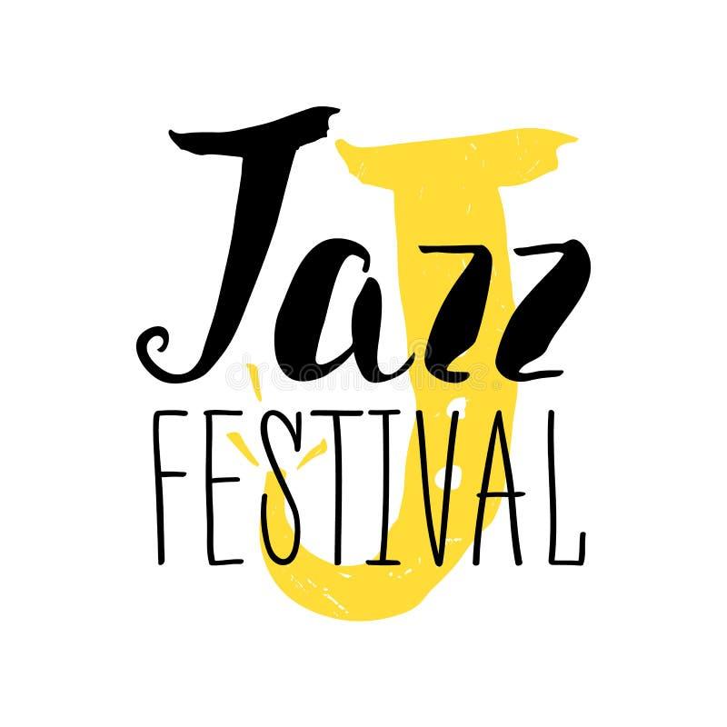 Diseño del cartel del festival de jazz Ejemplo y caligrafía del cartel de la música Ilustración del vector stock de ilustración