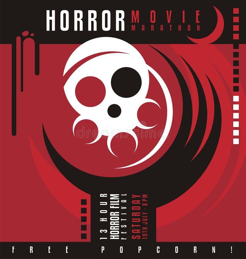 Diseño del cartel del festival del maratón o de película de terror de la película de terror libre illustration