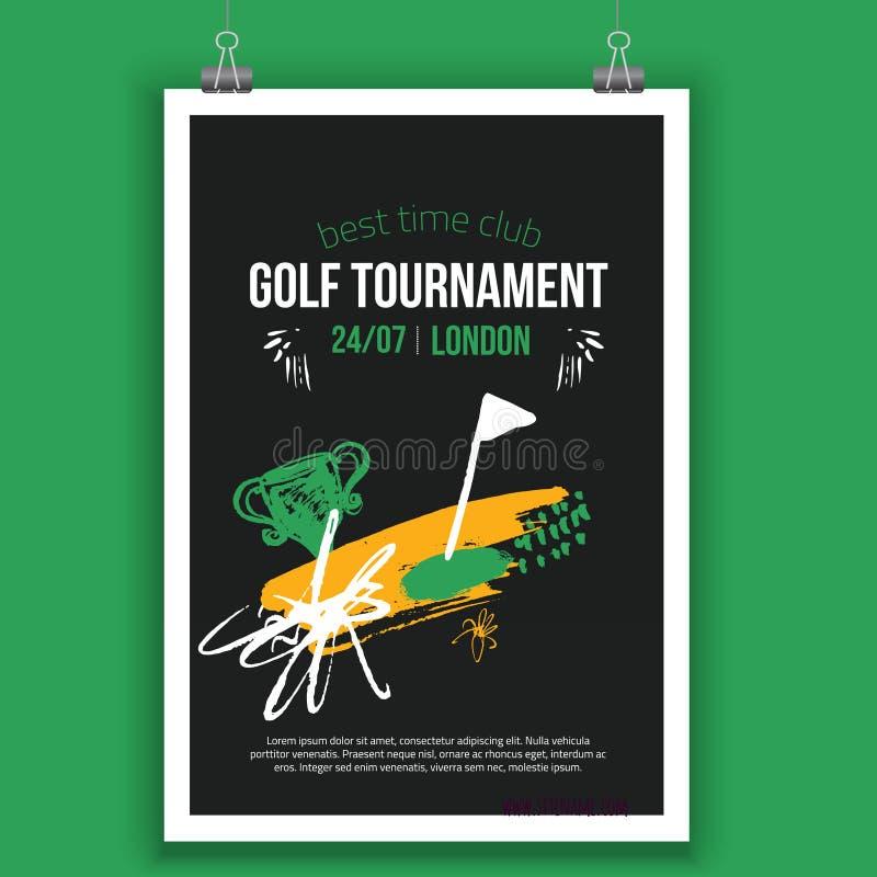 Diseño del cartel del golf del vector con los elementos dibujados mano Plantilla para el aviador del deporte, competencia stock de ilustración