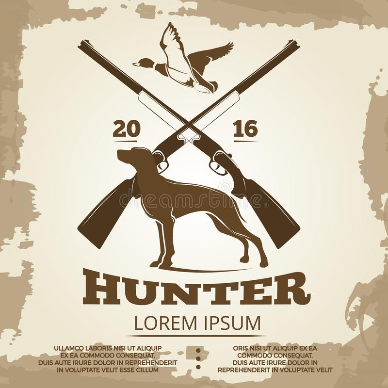 Diseño del cartel del vintage de la caza con los armas, el perro y el pato ilustración del vector