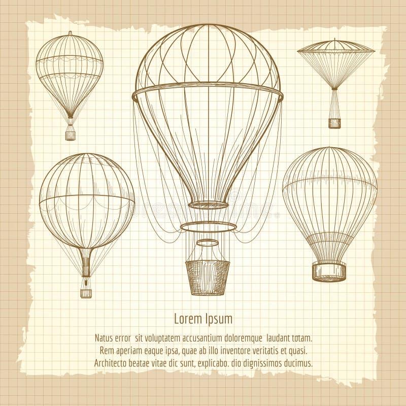 Diseño del cartel del vintage de los globos del aire caliente ilustración del vector