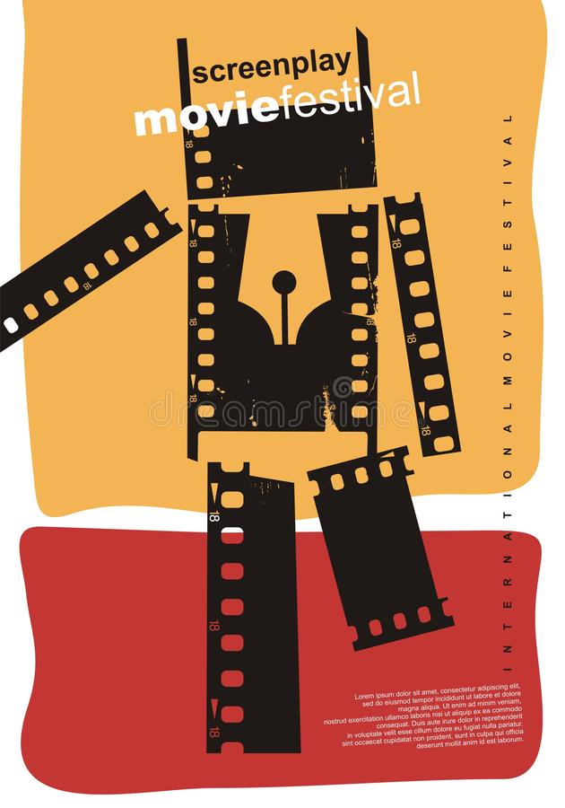 Diseño del cartel del extracto del festival de cine del guión ilustración del vector