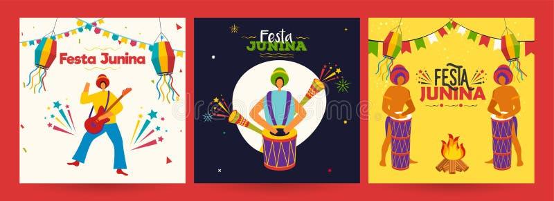 Diseño del cartel o de la plantilla del partido de Festa Junina fijado con los hombres brasileños que tocan el instrumento de m libre illustration