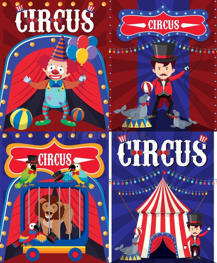 Diseño del cartel para el circo con el payaso y el instructor ilustración del vector