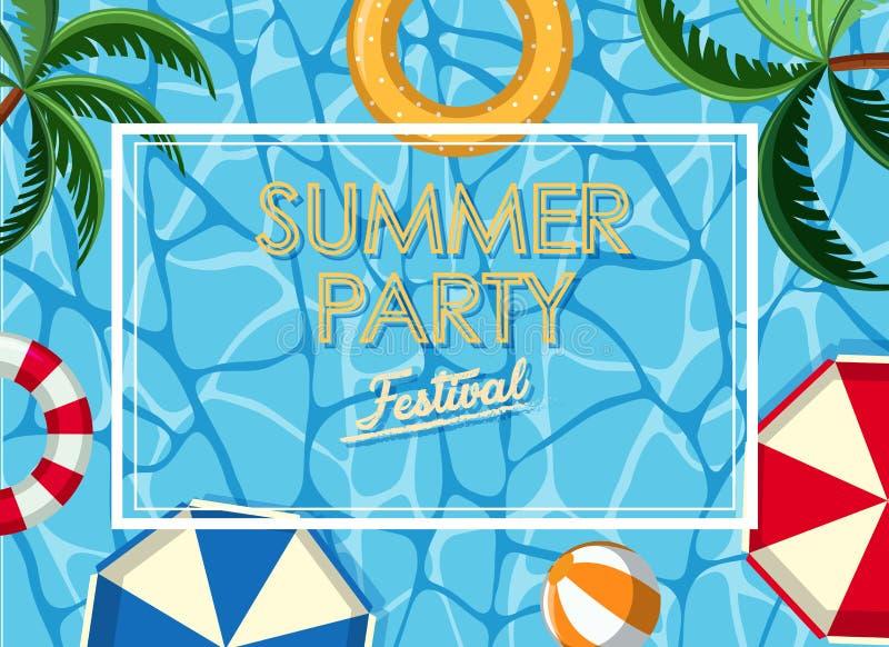 Diseño del cartel para el partido del verano con el océano en fondo ilustración del vector