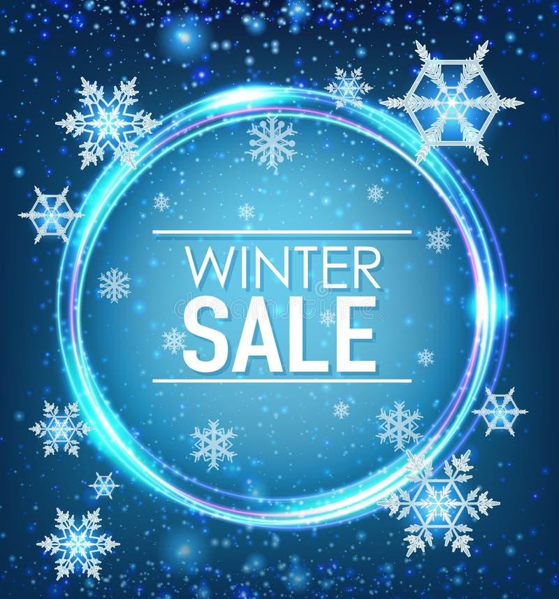 Diseño del cartel para la venta del invierno ilustración del vector
