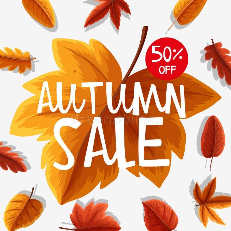 Diseño del cartel para la venta del otoño stock de ilustración