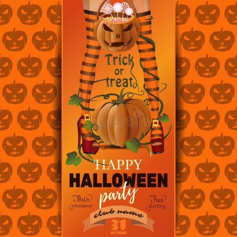 Diseño del cartel del partido de Halloween Truco o convite libre illustration