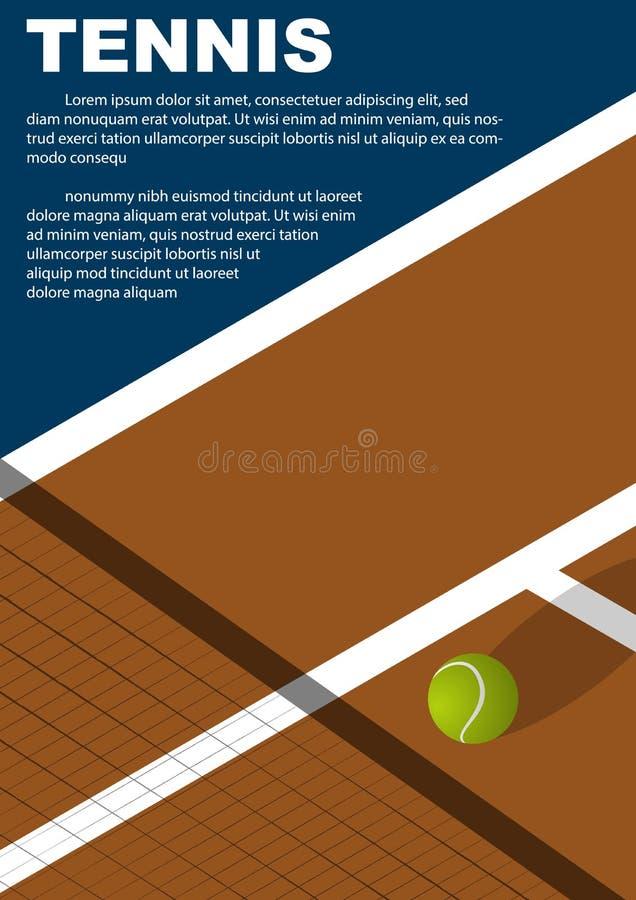 Diseño del cartel del torneo de tenis Plantilla del vector del cartel fotografía de archivo libre de regalías