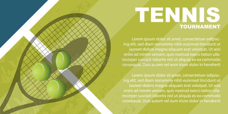 Diseño del cartel del torneo de tenis Plantilla del vector del cartel fotografía de archivo