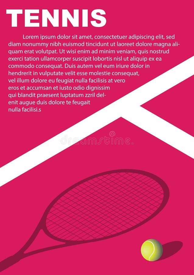 Diseño del cartel del torneo de tenis Plantilla del vector del cartel fotos de archivo libres de regalías