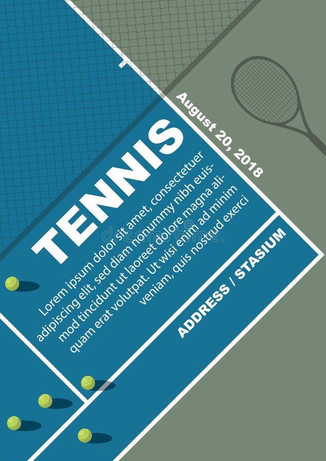 Diseño del cartel del torneo de tenis Plantilla del vector del cartel fotos de archivo