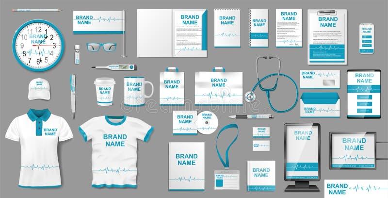 Diseño del centro médico o de la identidad de marcado en caliente de la farmacia Elementos de la plantilla de la maqueta de los e stock de ilustración