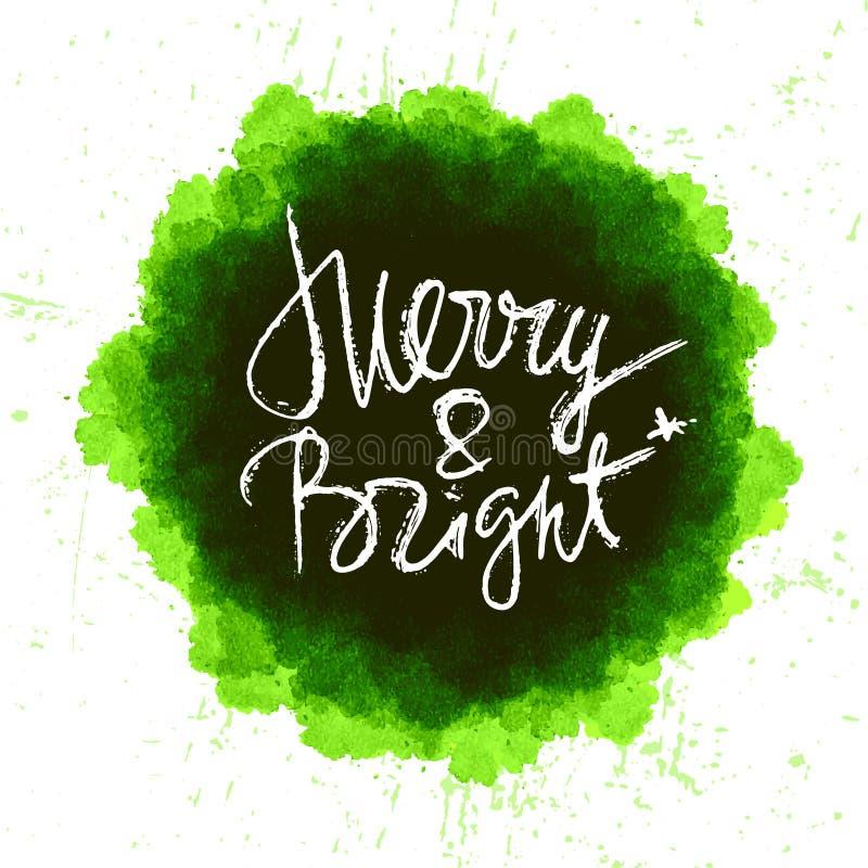 Diseño del chapoteo de la acuarela con las letras dibujadas mano de la Navidad de la tinta stock de ilustración