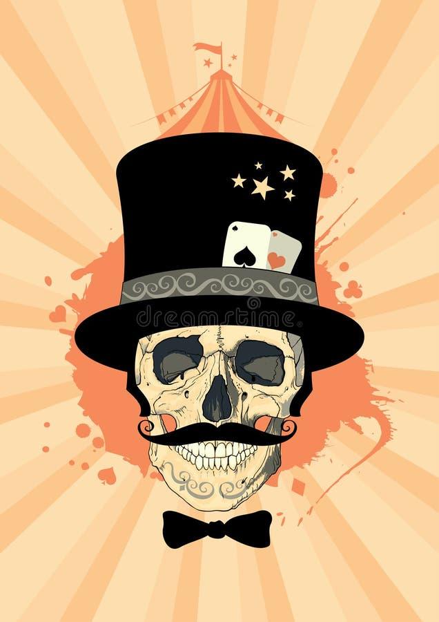 Diseño del circo con el cráneo del mago. libre illustration