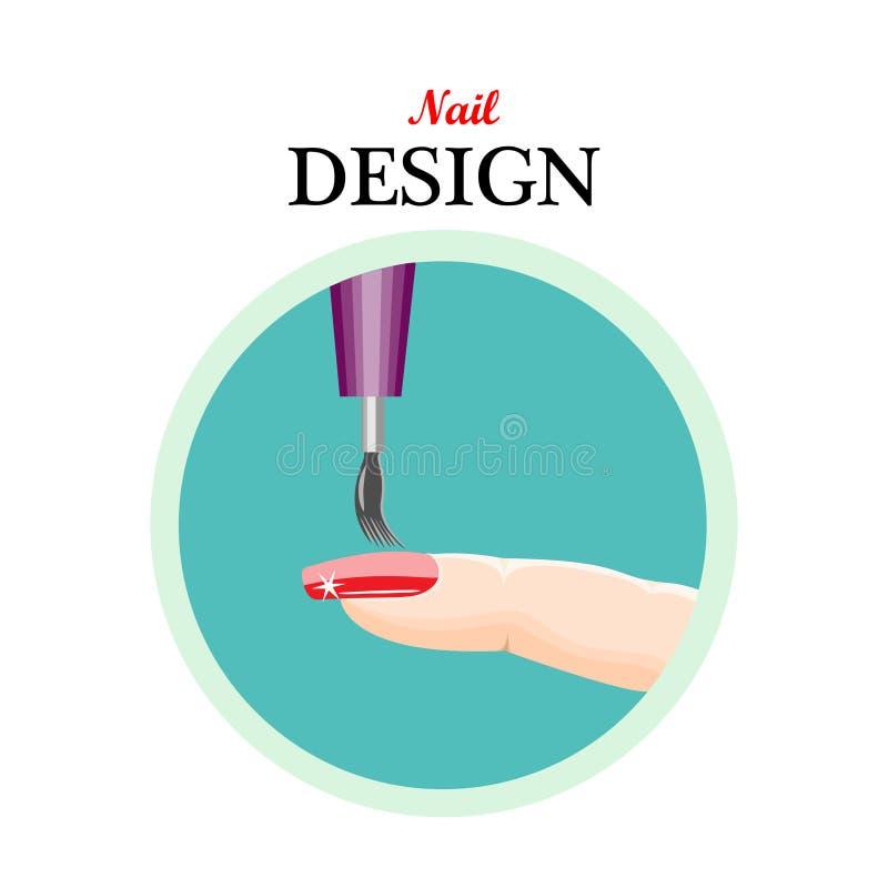 Diseño del clavo del icono, salón de belleza, manicura Ejemplo del vector en a stock de ilustración