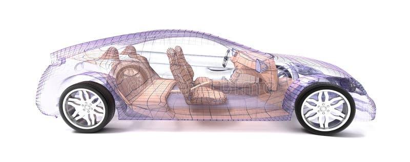 Diseño del coche, modelo del alambre ilustración del vector