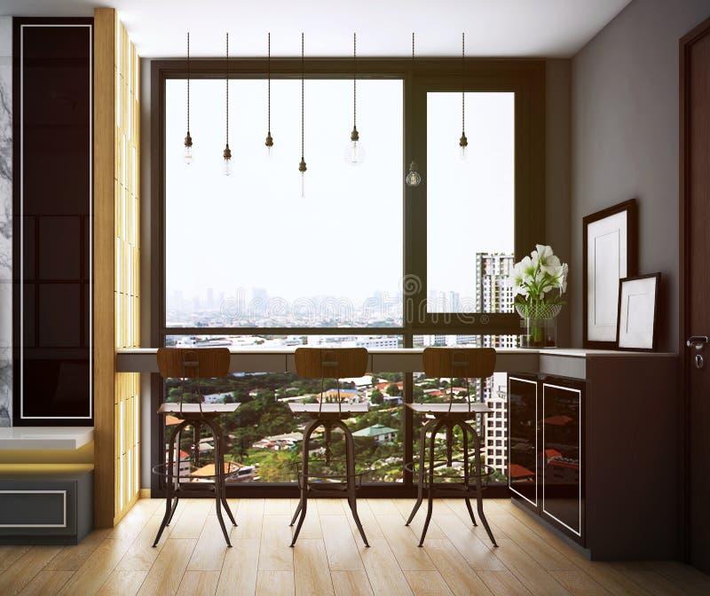 Diseño del comedor, interior del estilo acogedor moderno stock de ilustración