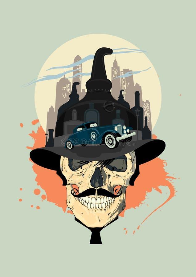 Diseño del contrabandista con el cráneo stock de ilustración