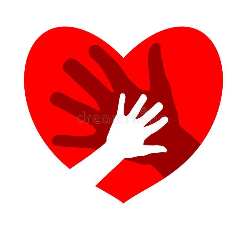 Diseño del corazón con las manos del niño y de la madre, concepto de familia sobre wh stock de ilustración